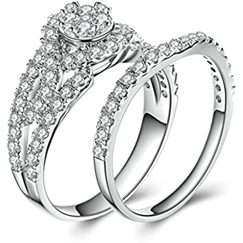 (Personalizzati Anelli)Adisaer Anelli Donna Argento 925 Anello Fidanzamento Incisione Gratuita Rotondo Singola Anello Diamante Set di Anelli