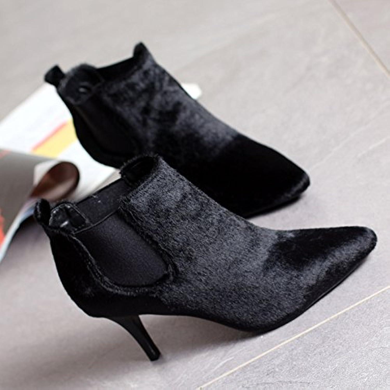 c172c9834990e9 gtvernh hiver les chaussures de femme au bout bout bout du velours des  bottes et chaussures à talons hauts à Femmeches courtes et  fines...b078jnkl3w parent ...