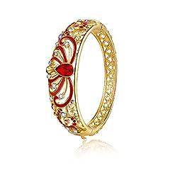 Idea Regalo - City Ouna® Rose Gold rosso cristallo austriaco donne. Gioiello con elementi di Swarovski