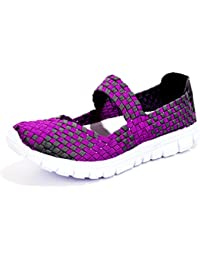 Poplover Zapatos Deportivos para Mujer Ligeras Tejidas Resistentes Al Agua Mocasines de Malla Elastic Zapatillas 35