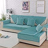 PUDDINGHH® Corner Sofa Cover L Shape Plush Non-Slip Cover For Children'S And Pets Modern Furniture Protection,Does not include side cushions,Green,90 * 70
