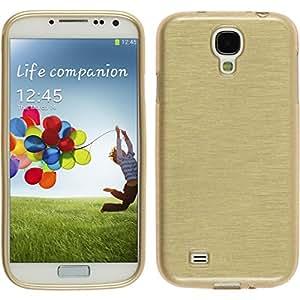 PhoneNatic Case für Samsung Galaxy S4 Hülle Silikon gold brushed Cover Galaxy S4 Tasche Case