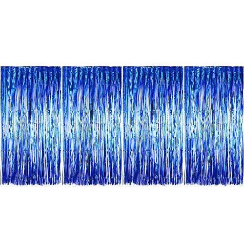 (1m x 2m) 4 stk Lametta Vorhänge Dekoration Folie Vorhang Glitzer Deko Glänzende Fransenvorhang Fransen Party Hintergrund Folien Glitzervorhang Schimmer Weihnachten (Blau)