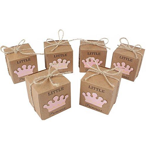 Yalulu 50 Stück Gastgeschenke Taufe Baby-Süßigkeit Baby Candy Box Candy Flaschen Geschenk Box Baby-Dusche-Bevorzugungen Taufe Geschenk (Rosa)
