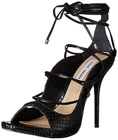 Steve Madden Women's Roxie Dress Sandal, Black Snake, 8.5 M US
