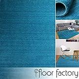 floor factory Alfombra Gabbeh Karma Azul Turquesa 80x150 cm - Hecha a Mano de Pura Lana Virgen