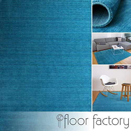 floor factory Gabbeh Teppich Karma türkis blau 160x230 cm - handgefertigt aus 100% Schurwolle -