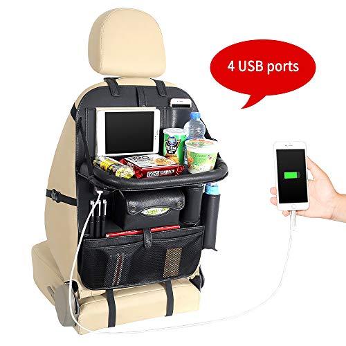 Yinleader Auto Organizer PU wasserdichte Rückenlehnenprotektoren 4 USB-Ladeanschlüsse iPad Mini-Halter Multi Taschen inklusive Tissue Box Tray-Plattform (mit Tisch) (Plattform-box)