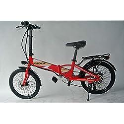 elecycle 20inch mini bicicleta plegable con Shimano 21velocidades batería eléctrica bicicleta en rojo con conector USB