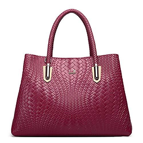 Mueka Damen Handtasche,Gross Schultertasche Frauen,Rindsleder, Stilvolle Tasche Mit Großer Kapazität (einfarbig)