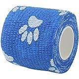 Impoted Cat Dog Pet Cohesive Bandage Gauze Tape Medical Care Wrap Claws Print Blue