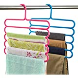 Inditradition Wardrobe Cloth Hangers   5 Layer Space Saving Hangers, Pack of 4 (Multi-Color)