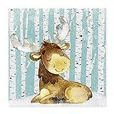 Spreadshirt Kleiner Elch im verschneiten Wald Poster 40x40 cm, Weiß