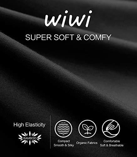 WiWi Damen Bambus Thermounterwäsche Set Lange Unterhose Unterwäsche Unterwäsche Oberteil und Hose S-XL – Schwarz – Small / 4-6 US - 6