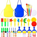 Pllieay 32 Pieces Kid Painting Brushes Sponge Drawing Tools with Plastic Palettes, Paint Bowls, Sponge Foam Brushes and Waterproof Aprons for Children Doodle, Sharing Paints