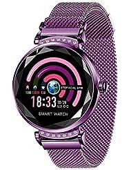 Miya H2 Smartwatch IP67 Modische Farbbildschirm Wasserdicht mit Blutdrucktest Pulsmesser Frauen Intelligent Predict Menstruationszyklus Fitness Schrittzähler für iPhone Android -Lila