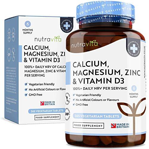 Tabletas Vegetarianas de Calcio, Magnesio, Zinc y Vitamina D3-365