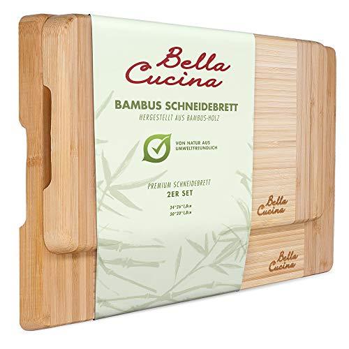 Bella Cucina© Premium Bambus Schneidebrett Set | 2 extra Dicke und stabile Küchenbretter aus Holz | Inklusive Tragegriff zum Servieren -