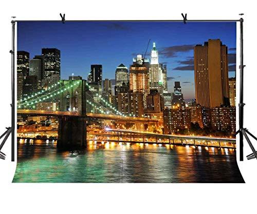 GzHQ New Yorker Nachthintergrund der New York City-Nachtbrücke Fotografie-Hintergrund-und Studiofotografie-Hintergrund-Requisiten LYLX313