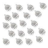 IPOTCH 20 Stücke Silberbaum Form Mini Anhänger Charms für Gastgeschenk Hochzeit Geschenkbox Armband Schmuck Herstellung