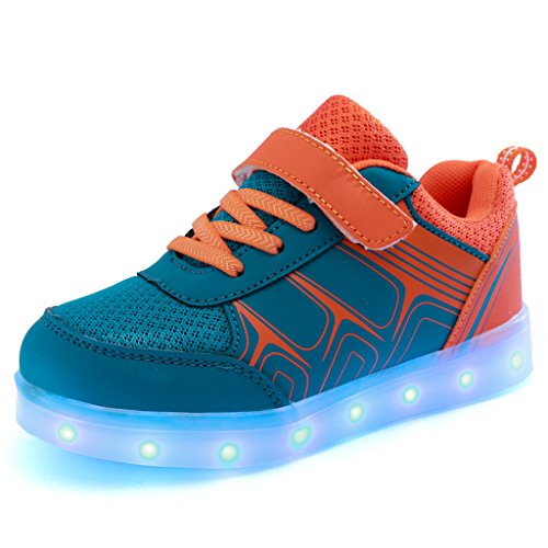 DoGeek Zapatos LED Niños Niñas Negras Blanco 7 Color USB Carga LED Zapatillas Luces Luminosos Zapatillas...
