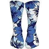 Flores de estilo hawaiano Hombres Calcetines largos de atletismo deportivos casuales de 30 cm para mujeres