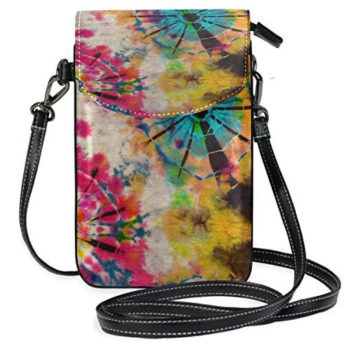 ZZKKO Retro Vintage Tie Dye Mini Crossbody Schultertasche Handy Geldbörse Geldbörse Leder für Frauen Casual Alltag Reisen Wandern Camping -