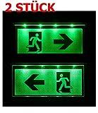 2 STÜCK Notleuchte Notbeleuchtung Exit Notausgang Fluchtwegleuchte Notlicht Fluchtweg Pfeil nach Links/ Rechts