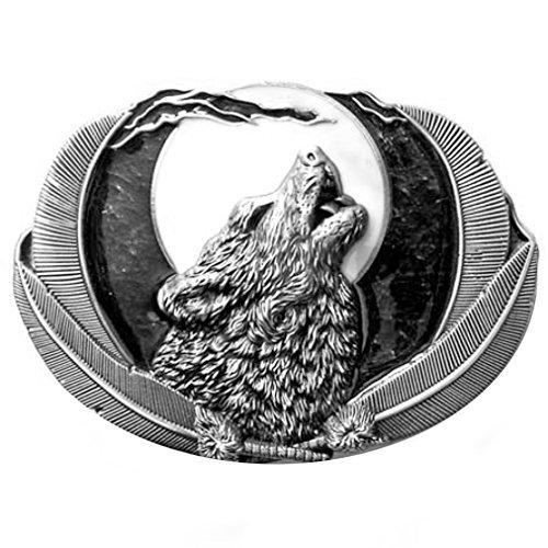 Buckle Wolf bei Vollmond, schwarz - Gürtelschnalle (Gürtelschnalle Wolf)