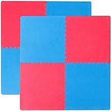 eyepower set 8 piezas Suelo de Gimnasio de EVA Esterillas Puzle cada pieza 63x63cm incl marco 20mm de grosor extensible doble faz Azul Rojo