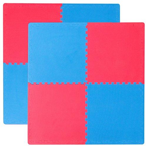 Eyepower 8 Tappetini Puzzle per Sport ciascuno 63x63cm incl Cornice Tappeto Estensibile Eva 20mm di Spessore Double-Face Blu-Rosso