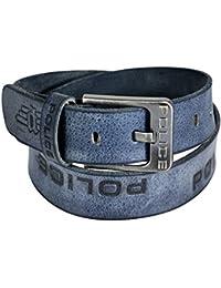 POLICE Men's Genuine Leather Belt - Grey (Large)