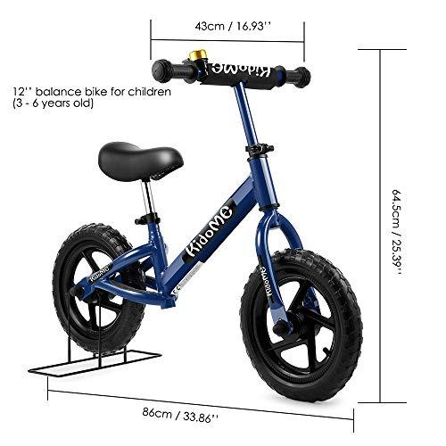 """KidoMe 12"""" Bicicletta da Equilibrio Blu Prima Bici Senza Pedale Regalo per Bambini Acciaio al Carbonio Pneumatici Senza necessità di gonfiarsi Sella e Manubrio Regolabile 2, 3, 4 ,5 e 6 Anni - 3"""