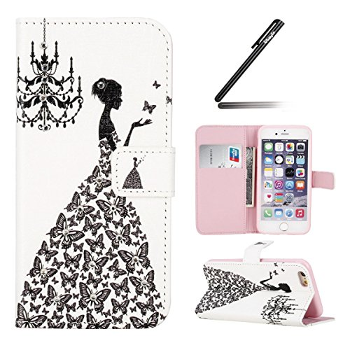 Coque Etui pour iPhone 6 / 6S, iPhone 6 Coque Etui Housse Portefeuille, iPhone 6S Bookstyle Étui Relief dessin animé peinture Housse en Cuir Case à rabat, iPhone 6 / 6S Leather Case Wallet Flip Protec Diamant-Papillon Jupe