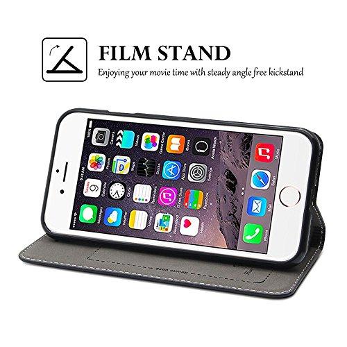 iPhone 7Fall, Belk Vintage Buch-Stil Ultra Slim Flip Folio Brieftasche Fall mit Kreditkarte & Soft TPU Bumper Fall Embedded Magnetverschluss Pure handgefertigt Cover für iPhone 7(11,9cm) schwarz
