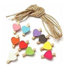 lumanuby 10unidades–Pinza, multicolor con forma de corazón para fotos decorativo, material de madera clips, tamaño: aprox. 3.0* 2.0* 0.8cm, herramienta útil para la organización de notas adhesivas o colgantes de imágenes