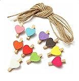 Nikgic erschwingliche 10 Stück Set Farbe Liebe Form Mini Holz Clip Foto Papier Postkarte Clip Geschenk 2 Meter Lange Schnur