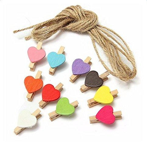 outflower Clips aus Holz mit Seilsaum, Liebe kleinen Clip bunt Rückenlehne Foto Snack Clip (10bis verkaufen