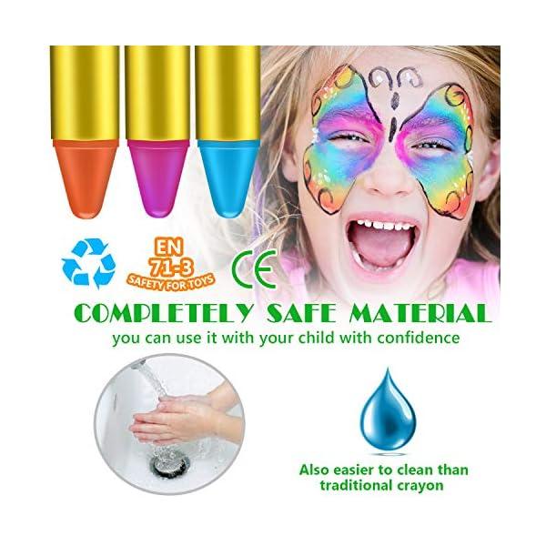Emooqi Colori per Viso Bambini, Trucchi per Truccabimbi 16 Colori Face Painting Body Painting Kit per Bambini Set Colori… 5 spesavip