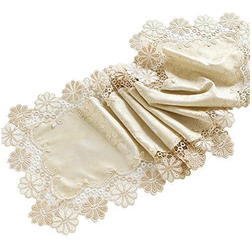 Chemin de table Tapis de fête familiale, nappe de dentelle pour la literie d'hôtel de tapis de café d'anniversaire de mariage fournitures (Couleur : Beige, taille : 60×180cm)