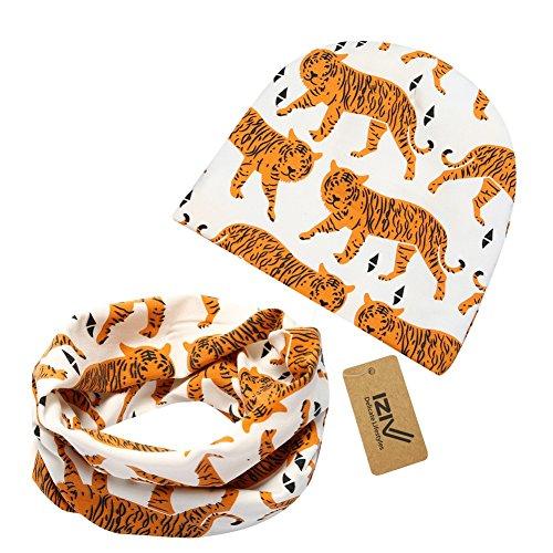 iZiv Babybekleidung Schals Niedliche Baby Kleinkind Kinder Cartoon drucken Hut Kappe Mütze + Schal Warp Set für 0-2 Jahre (Tiger)