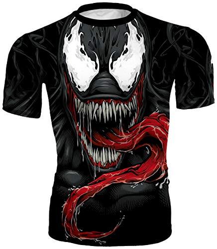 PIZOFF Unisex 3D Druck Kurzarm T-Shirt Muskelshirt Superhero Kampfanzug Venom AC146-15-M