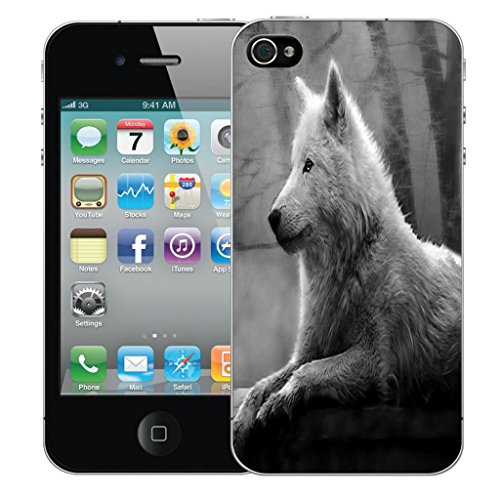 Mobile Case Mate iPhone 4 clip on Dur Coque couverture case cover Pare-chocs - whispy butterflies Motif wolf black