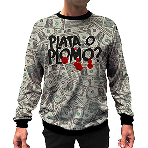 Plata O Plomo - Felpa Uomo e Unisex - Narcos - Pablo Escobar - Netflix - SerieTV - Frasi Virali - Viral T-Shirt - S & W Pianura