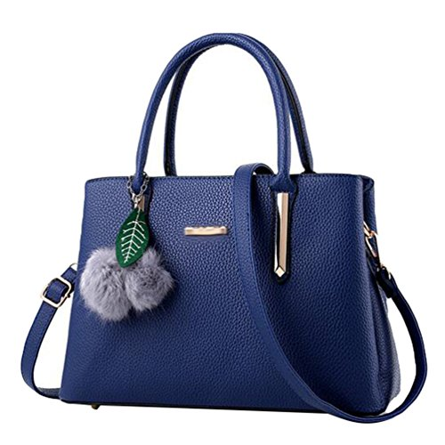 Baymate Mode Handtasche Tragetasche Damen PU Leder Messenger Bags Dunkel Blau