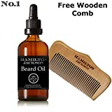 Beard Oil Conditioner Free Wooden Comb - All Natural Cedarwood & Lime Scent with Organic Argan & Jojoba Oils - Softens & Strengthens Beards and Moustaches for Men (Natural, Organic 1 Pack)