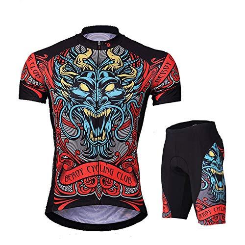 WANSE Sommer-Silikon-Shorts Chinesischer Drache-Sonnenschutz Hochfeste Sonnencreme Radtrikot und Silikon-gepolsterte Shorts Set Outfit Mountainbike Reflektierendes Kurzarm-T-Shirt Elastische Feuchtigk