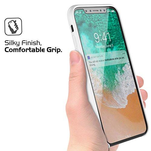 MoKo Coque Apple iPhone X / iPhone 10 en Silicone flexible de la haute qualité ultra mince, anti-choc et anti-rayures, Protection de la caméra (support le chargement sans fil), Noir Blanc