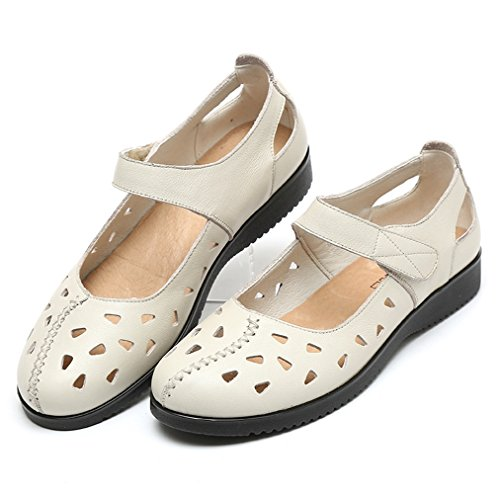 Schuhe Sommerlich Bequem Leicht Freizeit Damen Klettverschluss Beige Weich Aush枚hlen Atmungsaktiv Sandalen Modisch Geschlossen Retro xPqC7xf