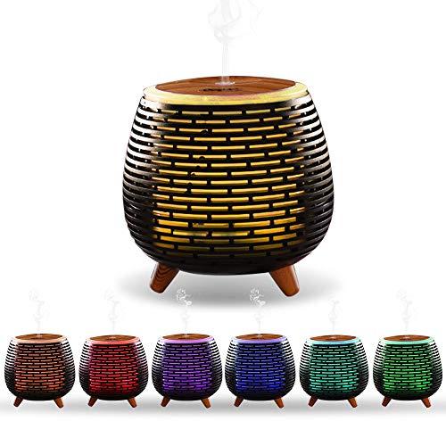 Ckeyin Humidificador Electrico,Humidificador Aceites Esenciales,Silencio, Lámpara de 7 Colores, 2 Modos de Pulverización, Apagado Automático, Hogar, Dormitorio, Decoración de Interiores